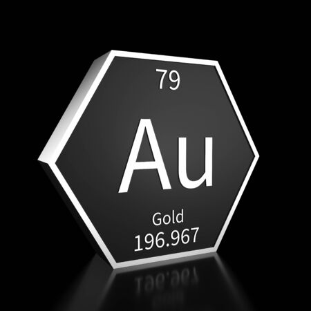Metal hexagonal block representing the periodic table element Gold. Presented as white text on a black backing plate with a black background. This image is a 3d render. Foto de archivo - 137759205
