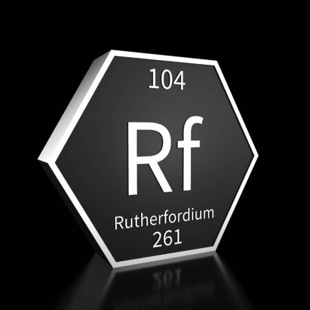 Metal hexagonal block representing the periodic table element Rutherfordium. Presented as white text on a black backing plate with a black background. This image is a 3d render.