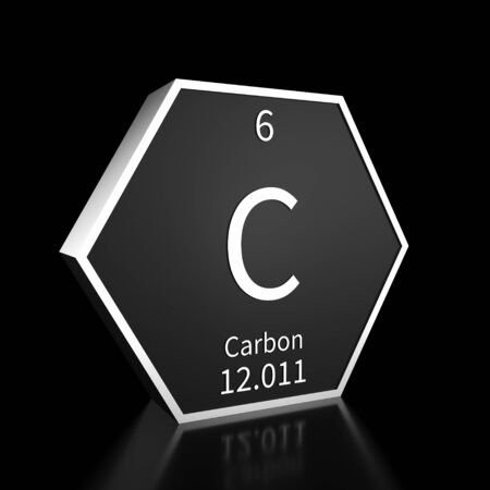 Metal hexagonal block representing the periodic table element Carbon. Presented as white text on a black backing plate with a black background. This image is a 3d render. Foto de archivo - 137759212