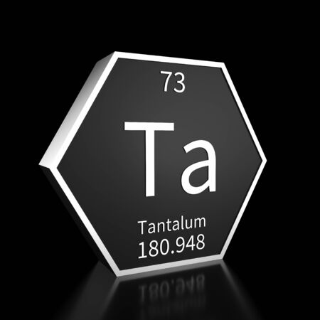 Metal hexagonal block representing the periodic table element Tantalum. Presented as white text on a black backing plate with a black background. This image is a 3d render. Foto de archivo - 137759217