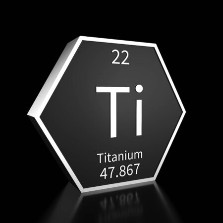 Metal hexagonal block representing the periodic table element Titanium. Presented as white text on a black backing plate with a black background. This image is a 3d render. Foto de archivo - 137759218