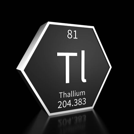 Metal hexagonal block representing the periodic table element Thallium. Presented as white text on a black backing plate with a black background. This image is a 3d render. Foto de archivo - 137759228