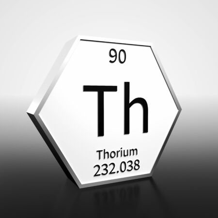 Metal hexagonal block representing the periodic table element Thorium. Presented as black text on a white backing plate with a black and white gradient background. This image is a 3d render. Foto de archivo - 137759230