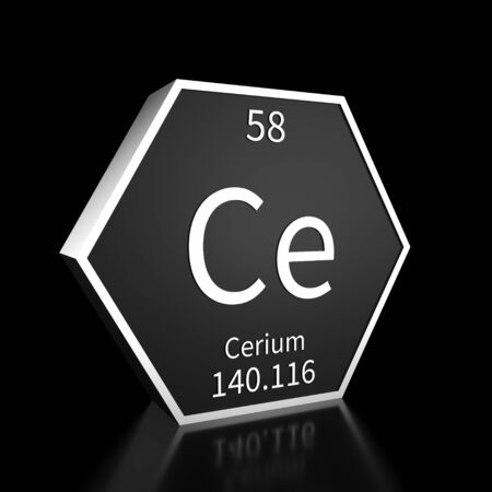 Metal hexagonal block representing the periodic table element Cerium. Presented as white text on a black backing plate with a black background. This image is a 3d render. Foto de archivo - 137759231
