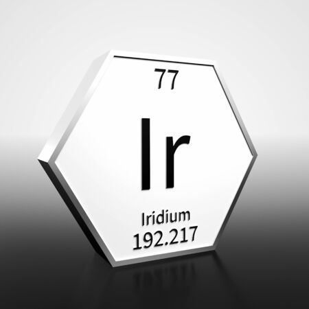 Metal hexagonal block representing the periodic table element Iridium. Presented as black text on a white backing plate with a black and white gradient background. This image is a 3d render. Banco de Imagens