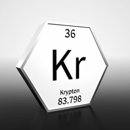 Metal hexagonal block representing the periodic table element Krypton. Presented as black text on a white backing plate with a black and white gradient background. This image is a 3d render. Foto de archivo - 137759234