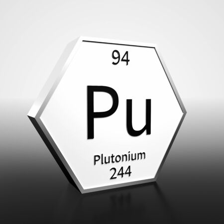 Metal hexagonal block representing the periodic table element Plutonium. Presented as black text on a white backing plate with a black and white gradient background. This image is a 3d render. Foto de archivo - 137759235