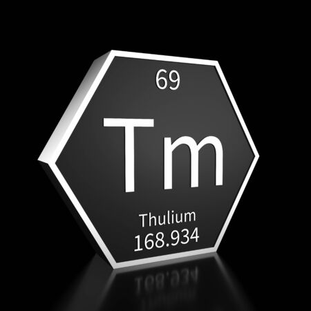 Metal hexagonal block representing the periodic table element Thulium. Presented as white text on a black backing plate with a black background. This image is a 3d render. Foto de archivo - 137759238