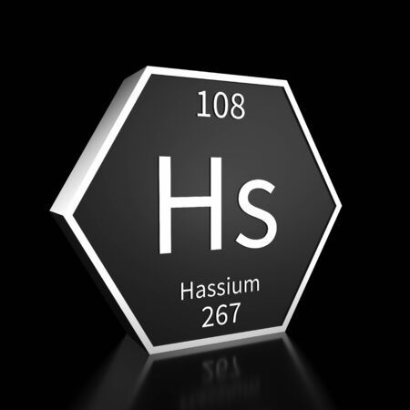 Metal hexagonal block representing the periodic table element Hassium. Presented as white text on a black backing plate with a black background. This image is a 3d render. Foto de archivo - 137759243