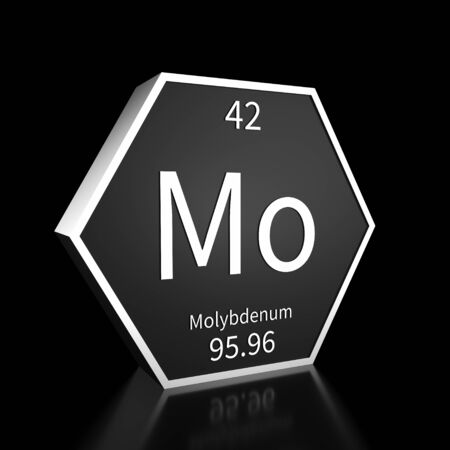 Metal hexagonal block representing the periodic table element Molybdenum. Presented as white text on a black backing plate with a black background. This image is a 3d render. Foto de archivo - 137759246