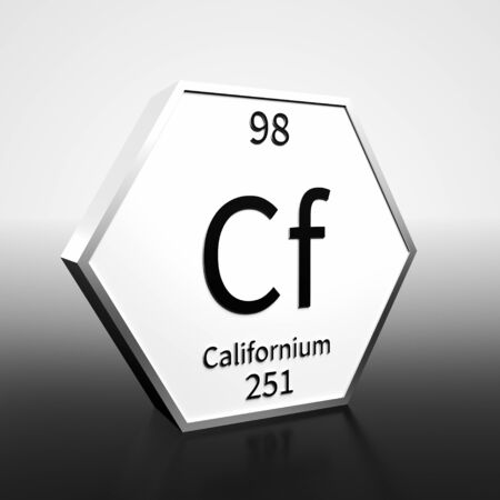 Metal hexagonal block representing the periodic table element Californium. Presented as black text on a white backing plate with a black and white gradient background. This image is a 3d render. Banco de Imagens