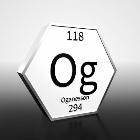Metal hexagonal block representing the periodic table element Oganesson. Presented as black text on a white backing plate with a black and white gradient background. This image is a 3d render.