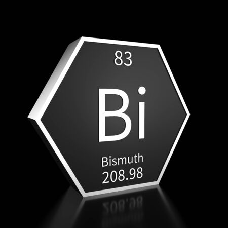 Metal hexagonal block representing the periodic table element Bismuth. Presented as white text on a black backing plate with a black background. This image is a 3d render. Foto de archivo - 137759251
