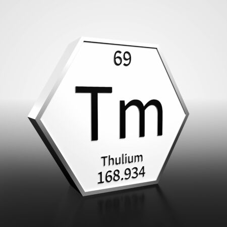 Metal hexagonal block representing the periodic table element Thulium. Presented as black text on a white backing plate with a black and white gradient background. This image is a 3d render. Foto de archivo - 137759255
