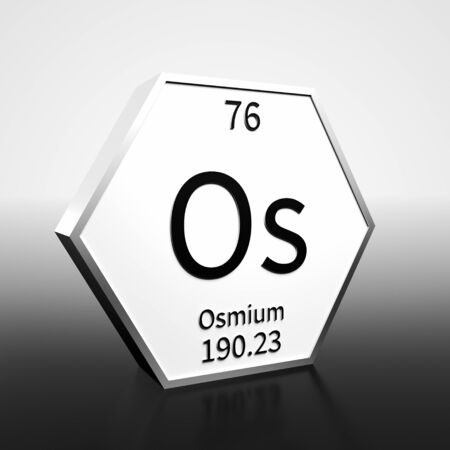 Metal hexagonal block representing the periodic table element Osmium. Presented as black text on a white backing plate with a black and white gradient background. This image is a 3d render. Foto de archivo - 137759370