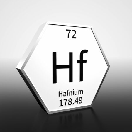 Metal hexagonal block representing the periodic table element Hafnium. Presented as black text on a white backing plate with a black and white gradient background. This image is a 3d render. Foto de archivo - 137759371