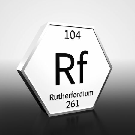 Metal hexagonal block representing the periodic table element Rutherfordium. Presented as black text on a white backing plate with a black and white gradient background. This image is a 3d render.