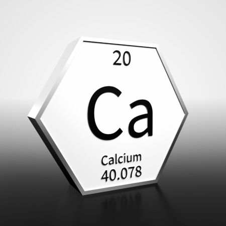 Metal hexagonal block representing the periodic table element Calcium. Presented as black text on a white backing plate with a black and white gradient background. This image is a 3d render. Foto de archivo - 137759378