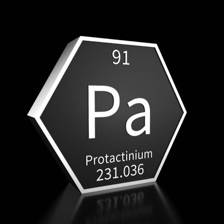 Metal hexagonal block representing the periodic table element Protactinium. Presented as white text on a black backing plate with a black background. This image is a 3d render.