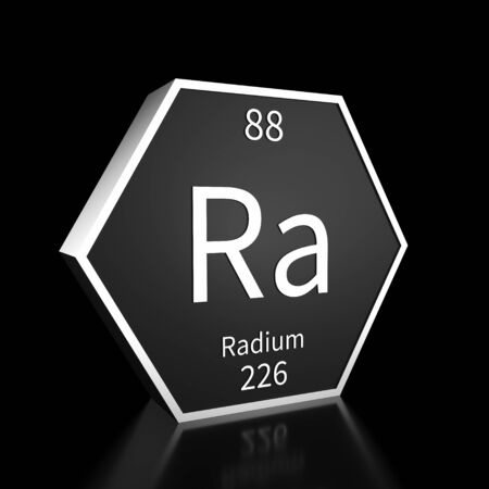 Metal hexagonal block representing the periodic table element Radium. Presented as white text on a black backing plate with a black background. This image is a 3d render. Foto de archivo - 137759385