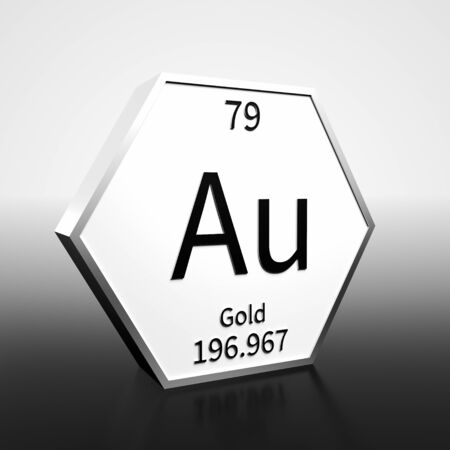 Metal hexagonal block representing the periodic table element Gold. Presented as black text on a white backing plate with a black and white gradient background. This image is a 3d render.