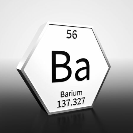 Metal hexagonal block representing the periodic table element Barium. Presented as black text on a white backing plate with a black and white gradient background. This image is a 3d render. Foto de archivo - 137759388
