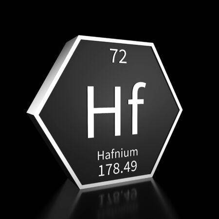 Metal hexagonal block representing the periodic table element Hafnium. Presented as white text on a black backing plate with a black background. This image is a 3d render.