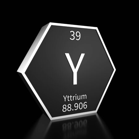 Metal hexagonal block representing the periodic table element Yttrium. Presented as white text on a black backing plate with a black background. This image is a 3d render. Foto de archivo - 137759391