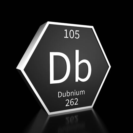 Metal hexagonal block representing the periodic table element Dubnium. Presented as white text on a black backing plate with a black background. This image is a 3d render.
