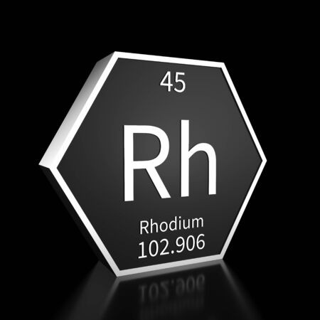 Metal hexagonal block representing the periodic table element Rhodium. Presented as white text on a black backing plate with a black background. This image is a 3d render. Foto de archivo - 137759398