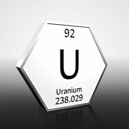 Metal hexagonal block representing the periodic table element Uranium. Presented as black text on a white backing plate with a black and white gradient background. This image is a 3d render. Foto de archivo - 137759399