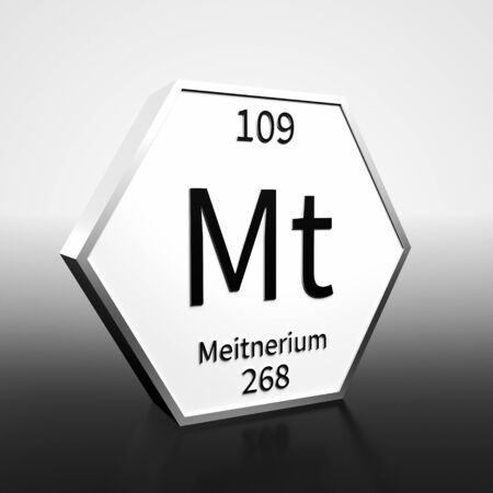 Metal hexagonal block representing the periodic table element Meitnerium. Presented as black text on a white backing plate with a black and white gradient background. This image is a 3d render. Banco de Imagens