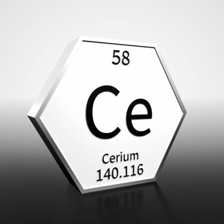 Metal hexagonal block representing the periodic table element Cerium. Presented as black text on a white backing plate with a black and white gradient background. This image is a 3d render. Banco de Imagens