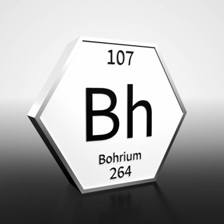 Metal hexagonal block representing the periodic table element Bohrium. Presented as black text on a white backing plate with a black and white gradient background. This image is a 3d render.