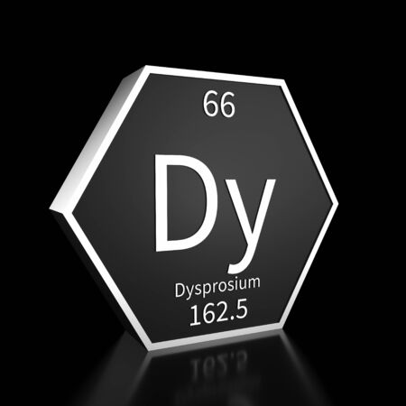 Metal hexagonal block representing the periodic table element Dysprosium. Presented as white text on a black backing plate with a black background. This image is a 3d render. Foto de archivo - 137759405