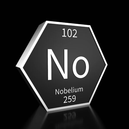 Metal hexagonal block representing the periodic table element Nobelium. Presented as white text on a black backing plate with a black background. This image is a 3d render.