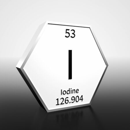 Metal hexagonal block representing the periodic table element Iodine. Presented as black text on a white backing plate with a black and white gradient background. This image is a 3d render. Foto de archivo - 137759409