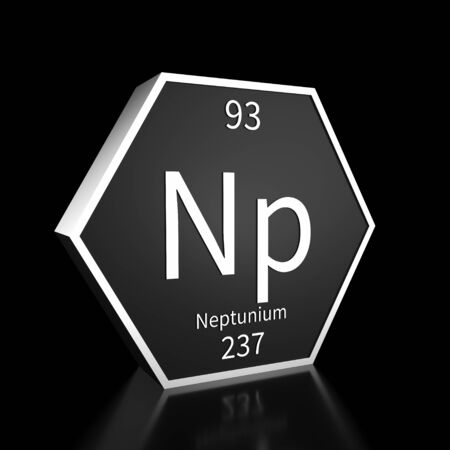 Metal hexagonal block representing the periodic table element Neptunium. Presented as white text on a black backing plate with a black background. This image is a 3d render. Foto de archivo - 137759410