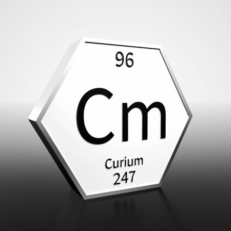 Metal hexagonal block representing the periodic table element Curium. Presented as black text on a white backing plate with a black and white gradient background. This image is a 3d render.