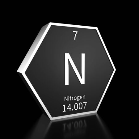 Metal hexagonal block representing the periodic table element Nitrogen. Presented as white text on a black backing plate with a black background. This image is a 3d render.
