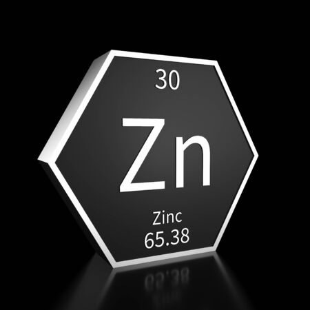 Metal hexagonal block representing the periodic table element Zinc. Presented as white text on a black backing plate with a black background. This image is a 3d render. Foto de archivo - 137759415