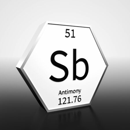 Metal hexagonal block representing the periodic table element Antimony. Presented as black text on a white backing plate with a black and white gradient background. This image is a 3d render. Foto de archivo - 137759419
