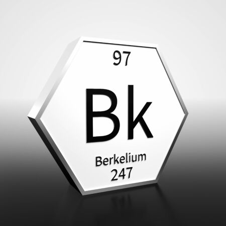 Metal hexagonal block representing the periodic table element Berkelium. Presented as black text on a white backing plate with a black and white gradient background. This image is a 3d render. Foto de archivo - 137759422