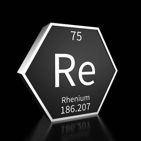 Metal hexagonal block representing the periodic table element Rhenium. Presented as white text on a black backing plate with a black background. This image is a 3d render.