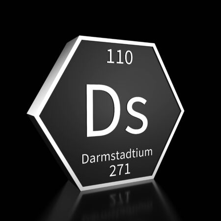 Metal hexagonal block representing the periodic table element Darmstadtium . Presented as white text on a black backing plate with a black background. This image is a 3d render. Banco de Imagens