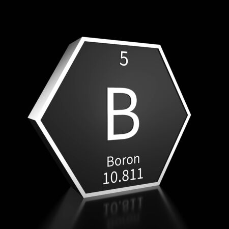 Metal hexagonal block representing the periodic table element Boron. Presented as white text on a black backing plate with a black background. This image is a 3d render. Foto de archivo - 137759440