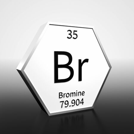 Metal hexagonal block representing the periodic table element Bromine. Presented as black text on a white backing plate with a black and white gradient background. This image is a 3d render. Foto de archivo - 137759442