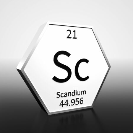 Metal hexagonal block representing the periodic table element Scandium. Presented as black text on a white backing plate with a black and white gradient background. This image is a 3d render. Foto de archivo - 137759444