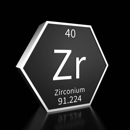 Metal hexagonal block representing the periodic table element Zirconium. Presented as white text on a black backing plate with a black background. This image is a 3d render. Foto de archivo - 137759445