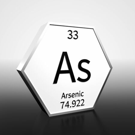 Metal hexagonal block representing the periodic table element Arsenic. Presented as black text on a white backing plate with a black and white gradient background. This image is a 3d render. Foto de archivo - 137759447
